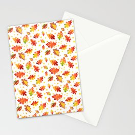 Autumn Nights Leaf and Star Pattern Stationery Cards