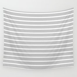 Light Grey and White Horizontal Stripes Pattern Wall Tapestry