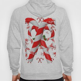 FESTIVE ART RED-WHITE CHRISTMAS CANDY CANES HOLLY BERRIES Hoody