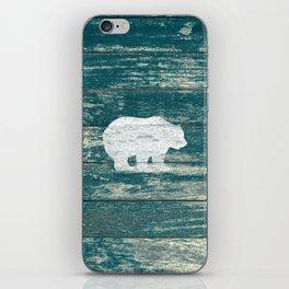 Rustic White Bear on Blue Wood Lodge Art A231b iPhone Skin