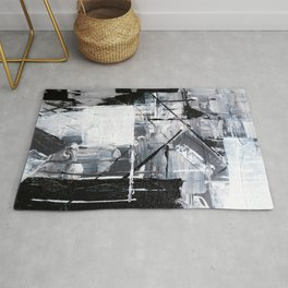 Black & White Abstract Painting Rug