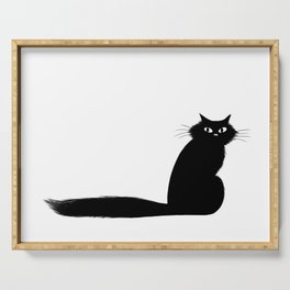 Long Tail Black Cat Serving Tray