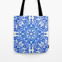 folk Tote Bags featuring Cobalt Blue & China White Folk Art Pattern by micklyn