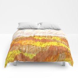 Golden Field drawing by Amanda Laurel Atkins Comforters