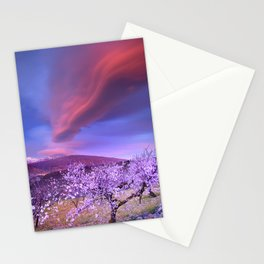 Lenticular clouds over Sierra Nevada and almonds Stationery Cards