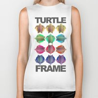frame Biker Tanks featuring Turtle Frame by Galvanise The Dog