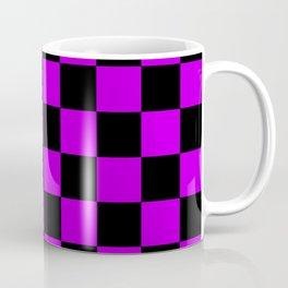 Black and Purple Checkerboard Pattern Coffee Mug