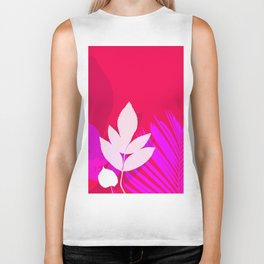 Leaves silhouette in pink and red  Jungle Brazil Biker Tank