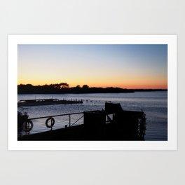 paddleboat at twilight Art Print