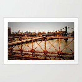 New York Skyline from the Brooklyn Bridge Art Print