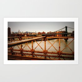 New York Skyline from the Brooklyn Bridge Art Print