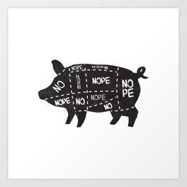 alternative pig meat cut chart vegan and vegetarian Art Print