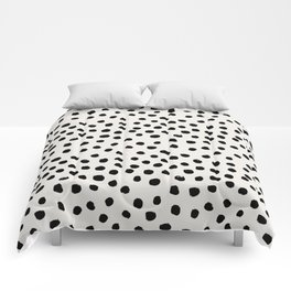 Preppy brushstroke free polka dots black and white spots dots dalmation animal spots design minimal Comforters