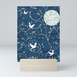 Art Nouveau Moon with Doves (Blue and Silver) Mini Art Print