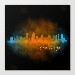 San Diego California City Skyline Watercolor v04 Drk Canvas Print