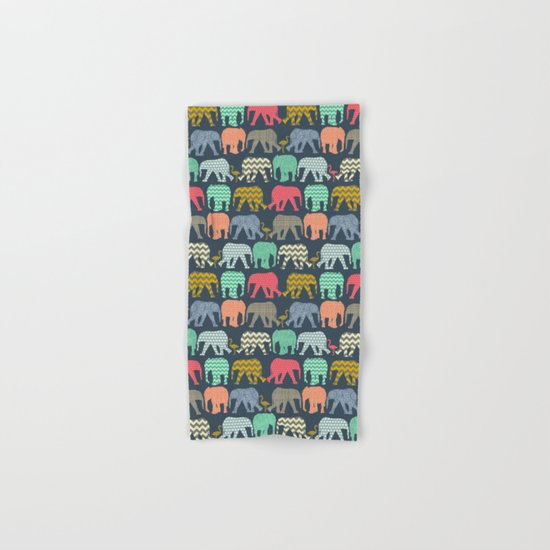 baby elephants and flamingos Hand & Bath Towel