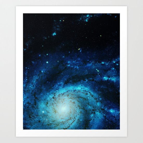 Teal Pinwheel Galaxy Art Print