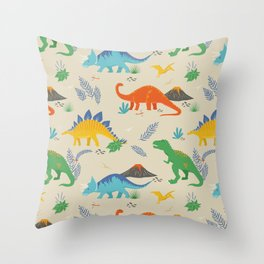 Jurassic Dinosaurs in Primary Colors Throw Pillow