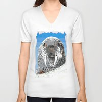 walrus V-neck T-shirts featuring Walrus by wingnang