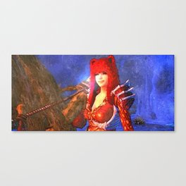 Beauty girl with bear hat Canvas Print