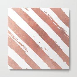 Faux Rose Gold Diagonal Metal Print