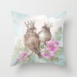 French Crown Songbirds II Throw Pillow