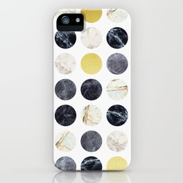 Marble and gold circles iPhone Case