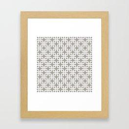 Mid-Century Modern Geometric Pattern, rounded corner squares interlocking Framed Art Print
