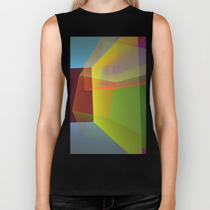 Modern colourful translucent cubism Biker Tank