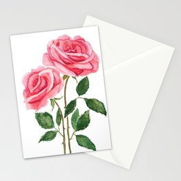 two pink roses watercolor Stationery Cards
