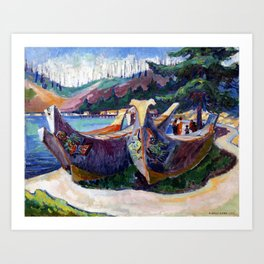 Emily Carr - War Canoes, Alert Bay - Canada, Canadian Oil Painting - Group of Seven Art Print