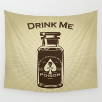 drink Wall Tapestries featuring Drink Me! by René Martin