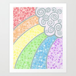 Dotty Rainbow and Swirly Cloud Art Print