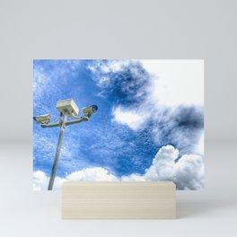 Bottom view shot of surveillance pole on sunny day. Mini Art Print