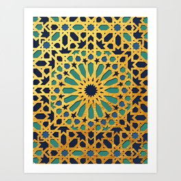 -A1_2- Golden Original Traditional Moroccan Artwork. Art Print