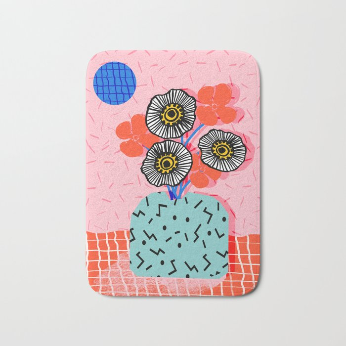 Far Out - still life memphis abstract collage floral vase flowers retro 80s style Bath Mat