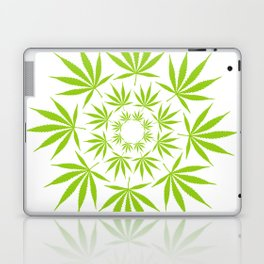 Cannabis Leaf Circle (White) Laptop & iPad Skin