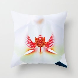 White Orchid Close  up 35 Throw Pillow