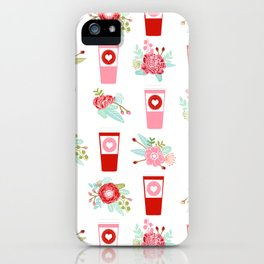 Coffee floral bouquet painted flowers for valentines day gifts coffee lovers must haves iPhone Case