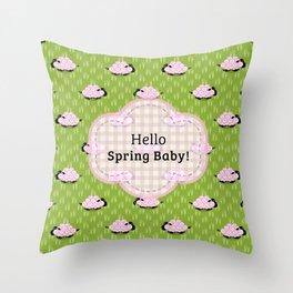Pastel Sheep - Hello Spring Baby! Throw Pillow