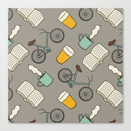 Bicycles, Books, Beer, and Coffee Canvas Print