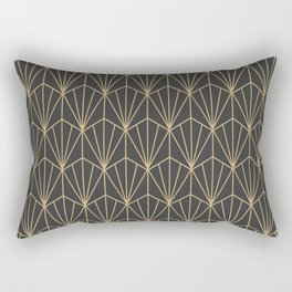 Art Deco Vector in Charcoal and Gold Rectangular Pillow