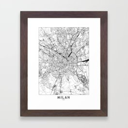 Milan White Map Framed Art Print