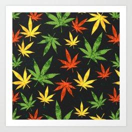 Cannabis. Grunge pattern Art Print