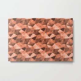 Abstract Geometrical Triangle Patterns 4 Fringe Orange,Orange Slice, Fiery Sky, Heirloom Tomato Metal Print