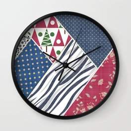 Abstract pattern .Textile patchwork patchwork . Wall Clock