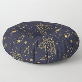 Golden Celestial Bugs Floor Pillow
