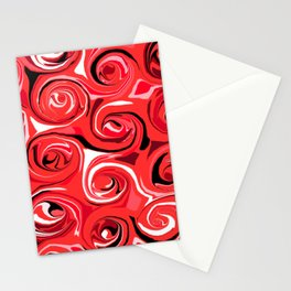Red Apple Abstract Swirls Pattern Stationery Cards