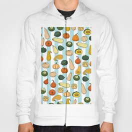 Seamless pattern with different hand drawn squashes on light blue and white striped background. Endless texture with various pumpkins Hoody
