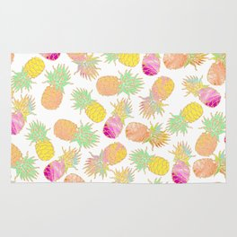Tropical neon pink teal watercolor faux gold glitter pineapple Rug